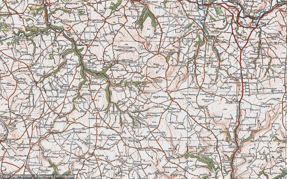 Old Map of Historic Map covering Afon Barddu in 1923