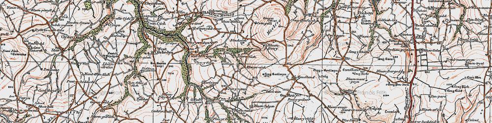 Old map of Afon Barddu in 1923