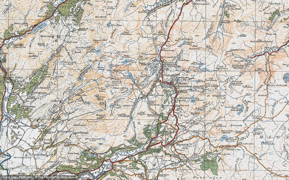 Old Map of Historic Map covering Afon Stwlan in 1922
