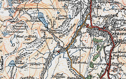 Old map of Afon Stwlan in 1922