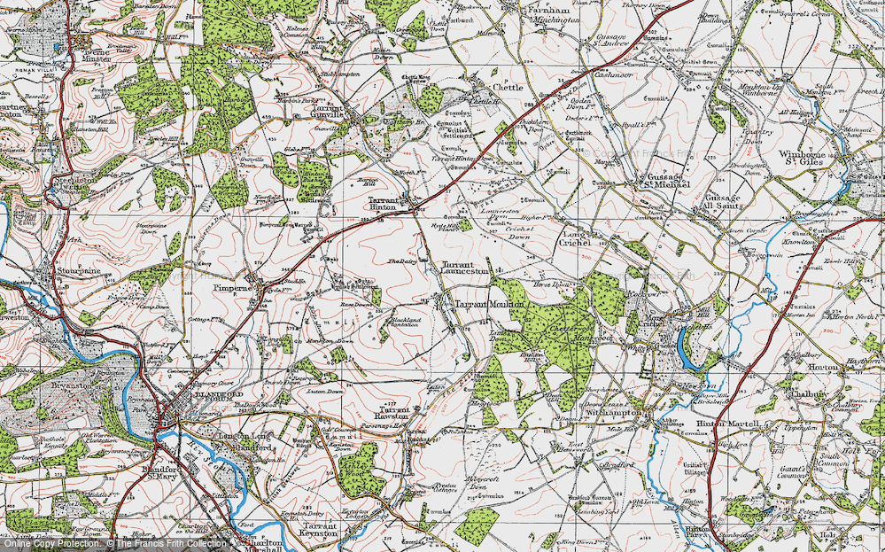 Old Map of Historic Map covering Launceston Down in 1919