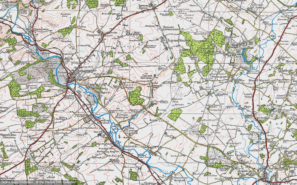 Old Map of Historic Map covering Ashley Wood in 1919