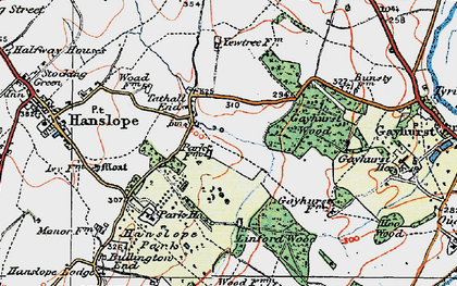 Old map of Tathall End in 1919