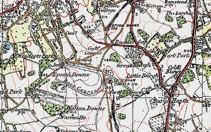 Old map of Tattenham Corner in 1920