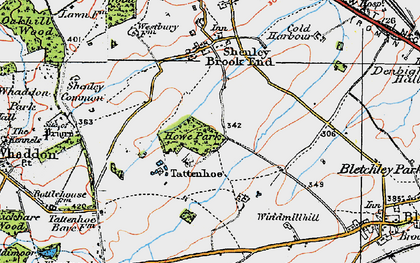 Old map of Tattenhoe in 1919