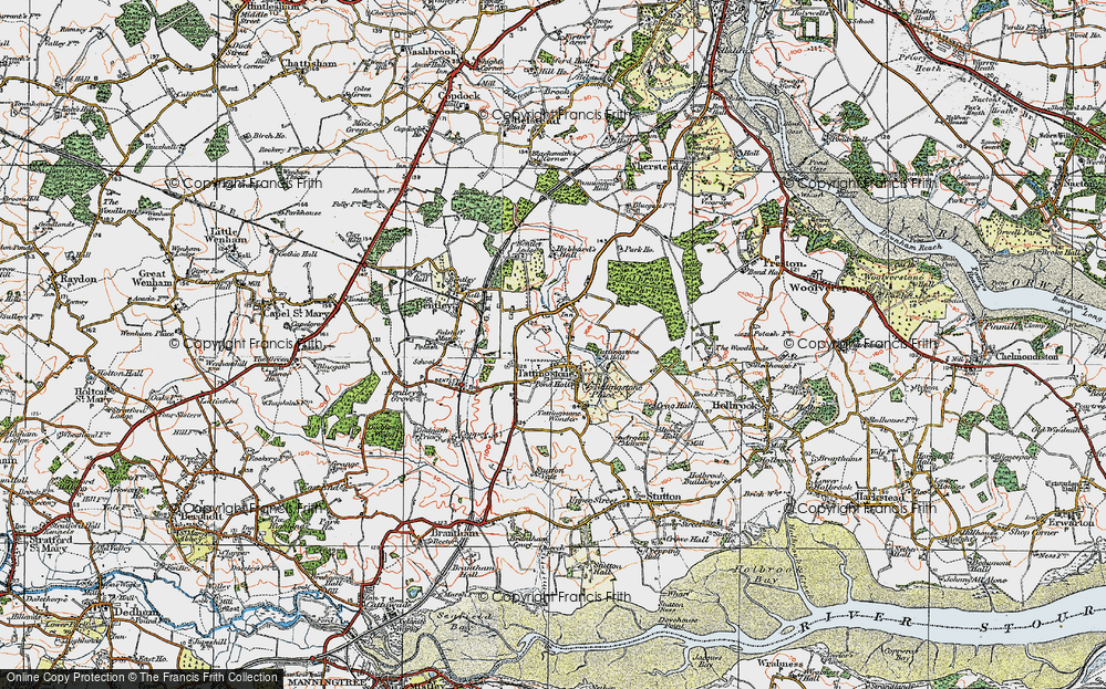 Old Map of Historic Map covering Alton Water (Reservoir) in 1921
