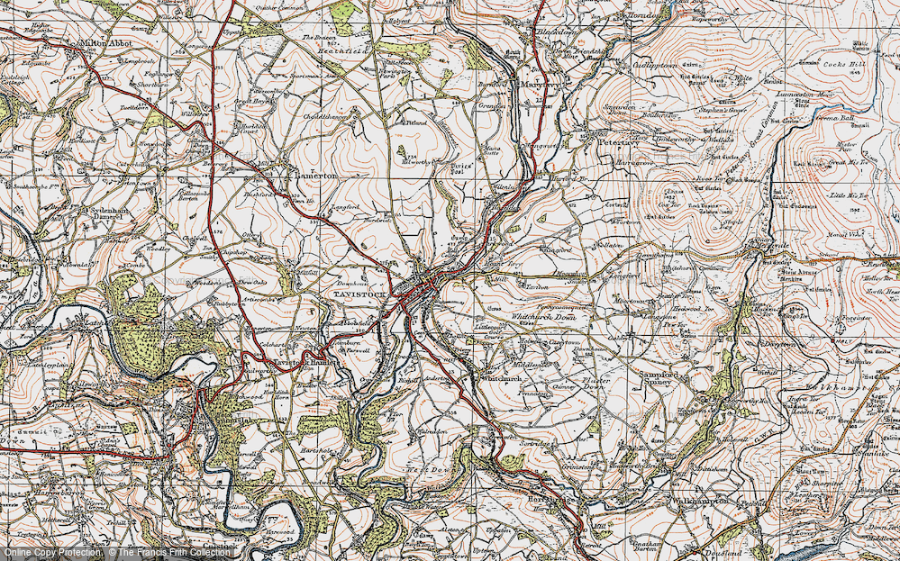 Old Map of Tavistock, 1919 in 1919