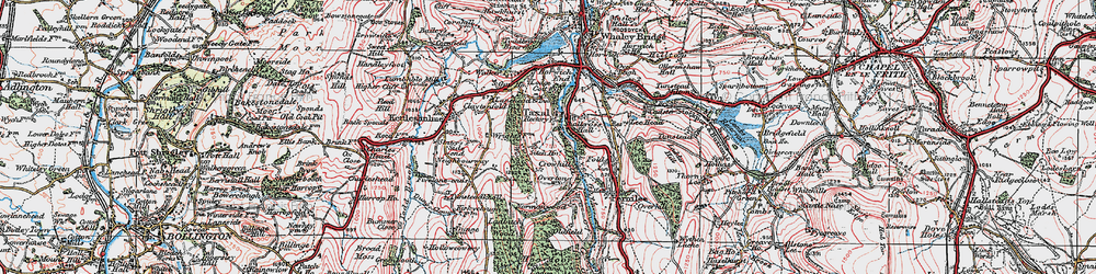 Old map of Windgather Rocks in 1923