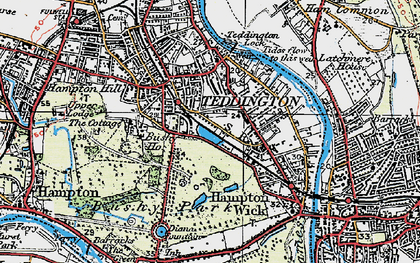 Old map of Teddington in 1920