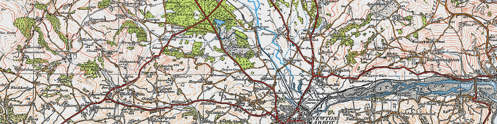 Old map of Teigngrace in 1919