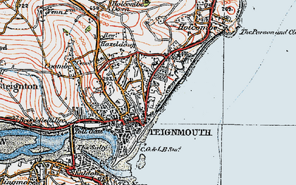 Old map of Teignmouth in 1919