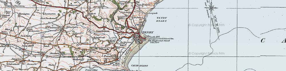 Old map of Tenby in 1922