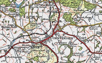 Old map of Tenterden in 1921