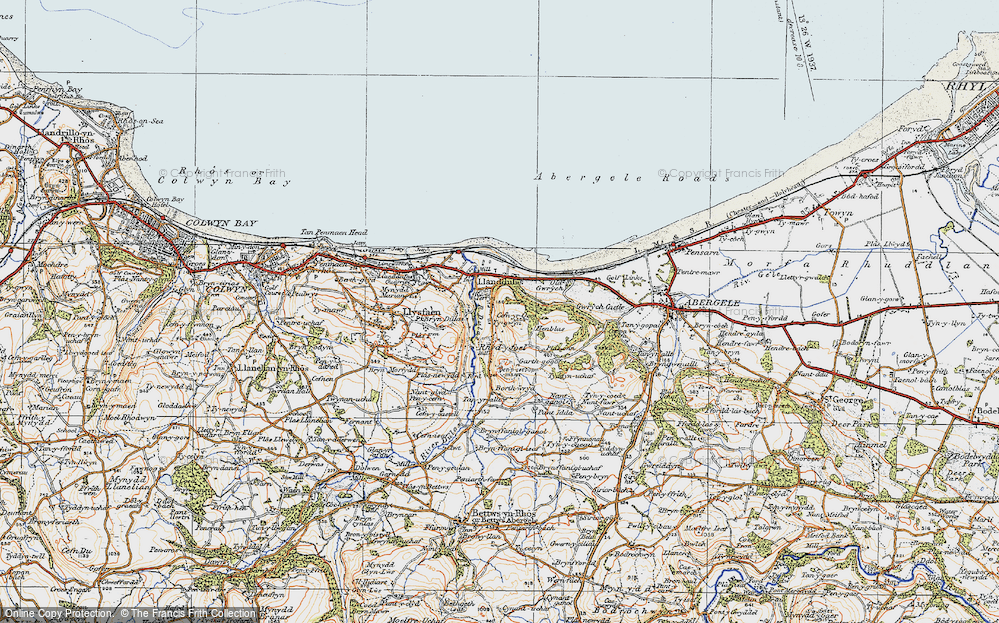 Old Map of Historic Map covering Abergele Roads in 1922