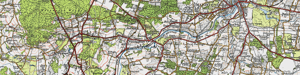 Old map of Teston in 1920