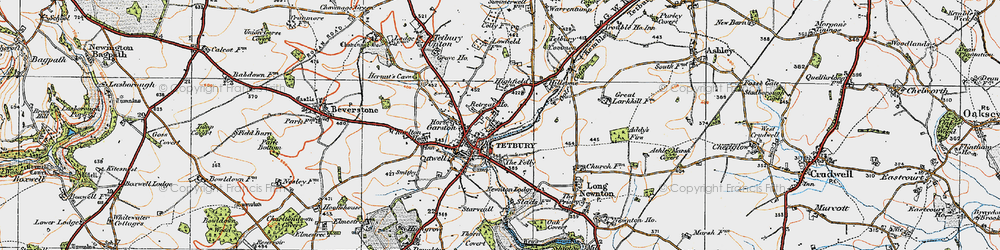 Old map of Tetbury in 1919