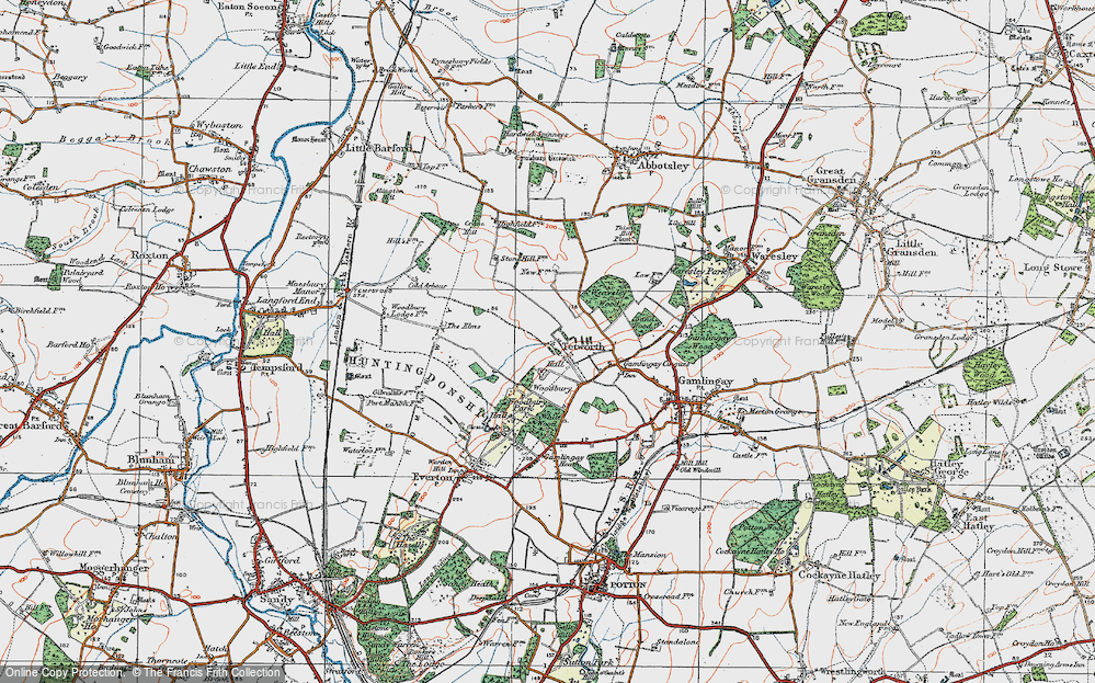 Old Map of Historic Map covering White Wood in 1919