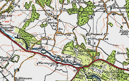Old map of Tewin in 1920