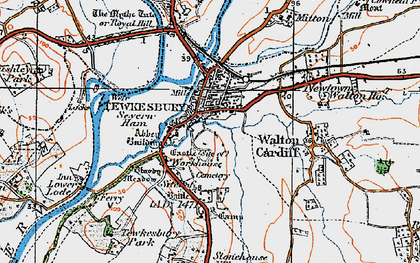 Old map of Tewkesbury in 1919
