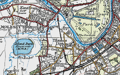 Old map of Thames Ditton in 1920