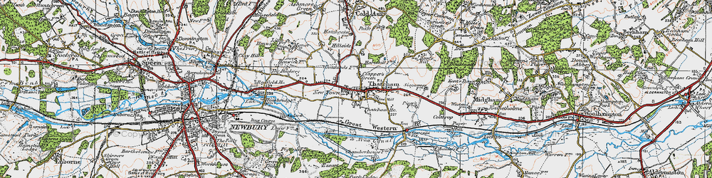 Old map of Thatcham in 1919
