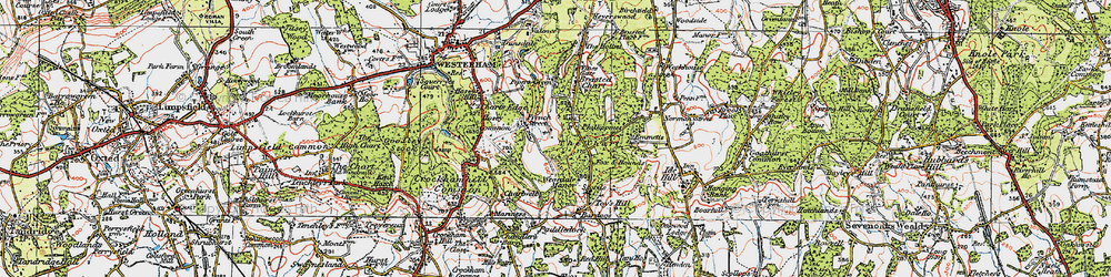 Old map of The Chart in 1920