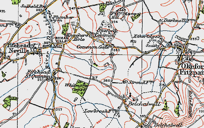 Old map of Banbury Hill (Fort) in 1919