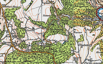 Old map of Tintern Cross in 1919