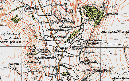Old map of Ledge Beck in 1925