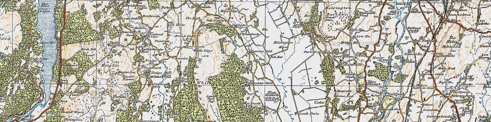 Old map of Whitbarrow Scar in 1925