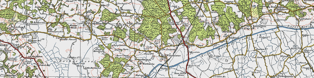 Old map of Orlestone Lodge in 1921
