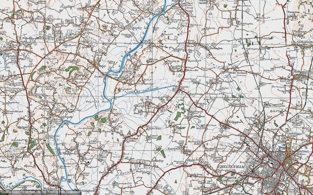 Old Map of Historic Map covering Leigh Ho in 1919
