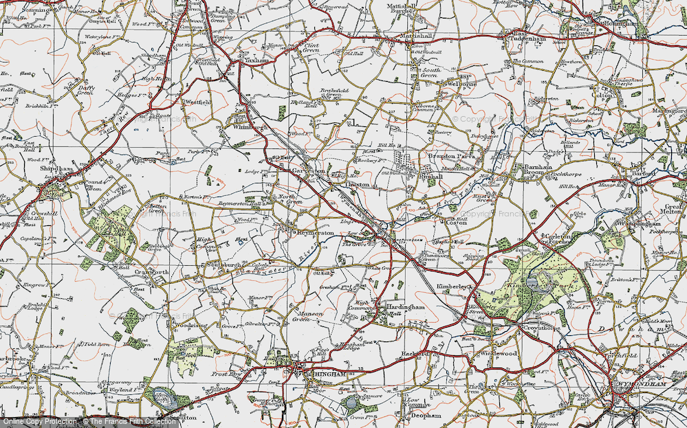Old Map of Historic Map covering Lings, The in 1921