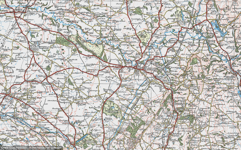 Old Map of Historic Map covering Astbury Mere in 1923