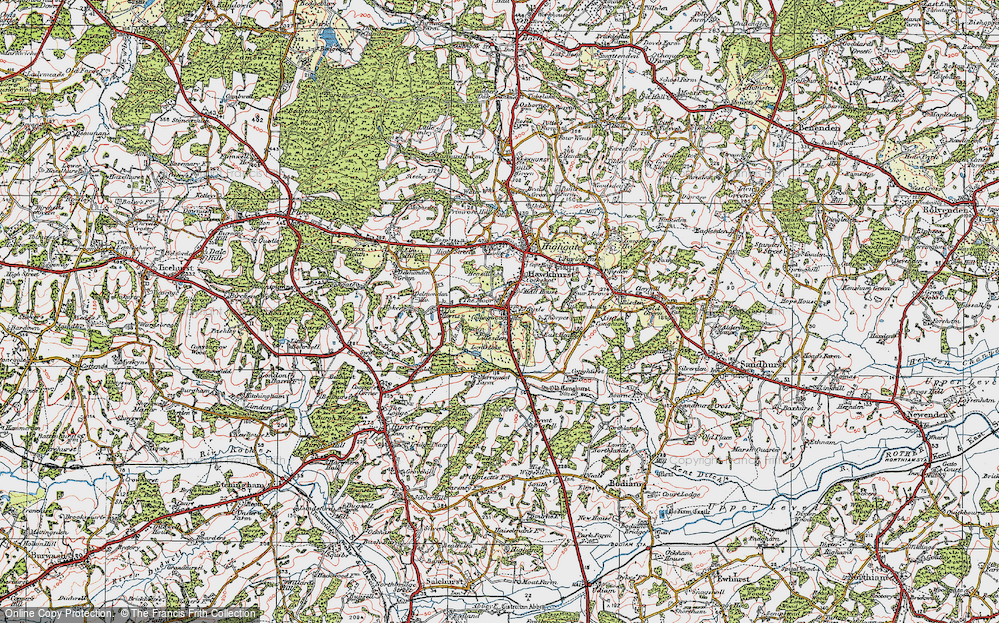 Old Map of Historic Map covering Lillesden in 1921