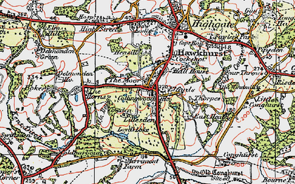 Old map of Lillesden in 1921