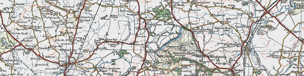Old map of Hawkstone Park in 1921