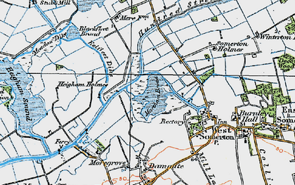 Old map of The Norfolk Broads in 1922