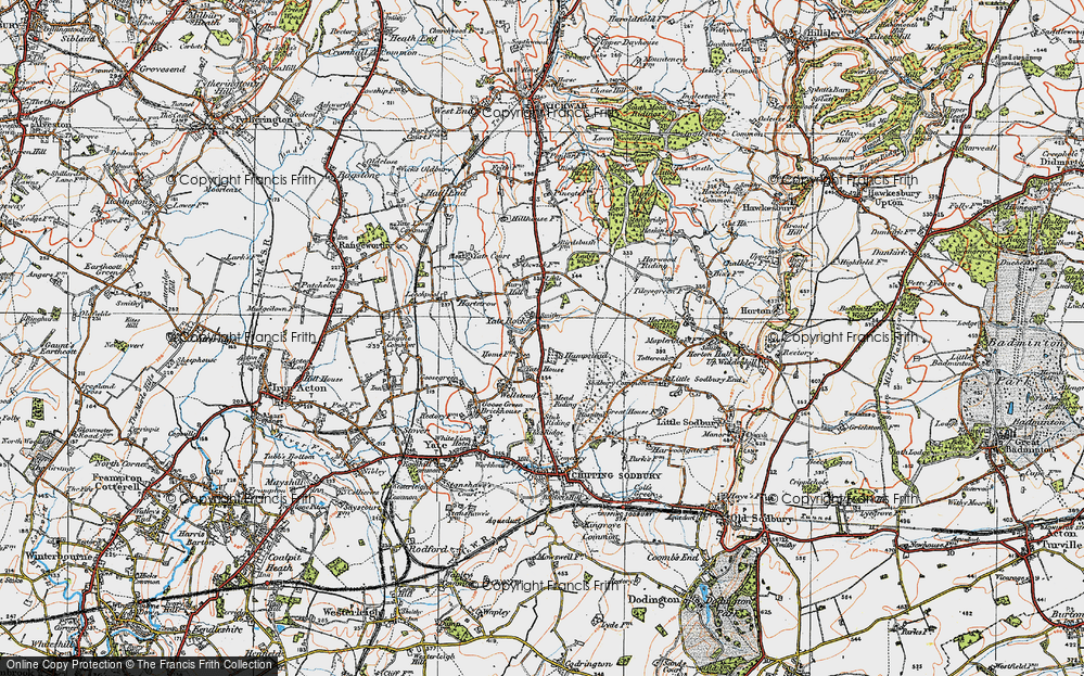 Old Map of Historic Map covering Yate Court in 1919