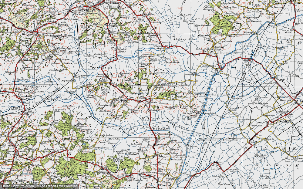 Old Map of Historic Map covering Acton in 1921
