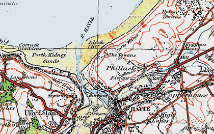 Old map of The Towans in 1919