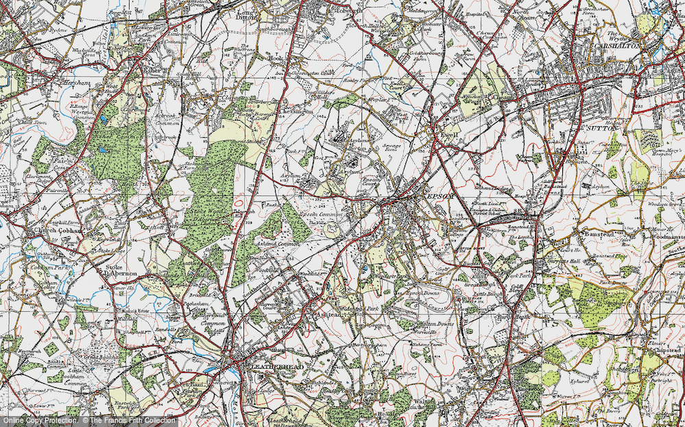 Old Map of Historic Map covering Woodcote Stud in 1920