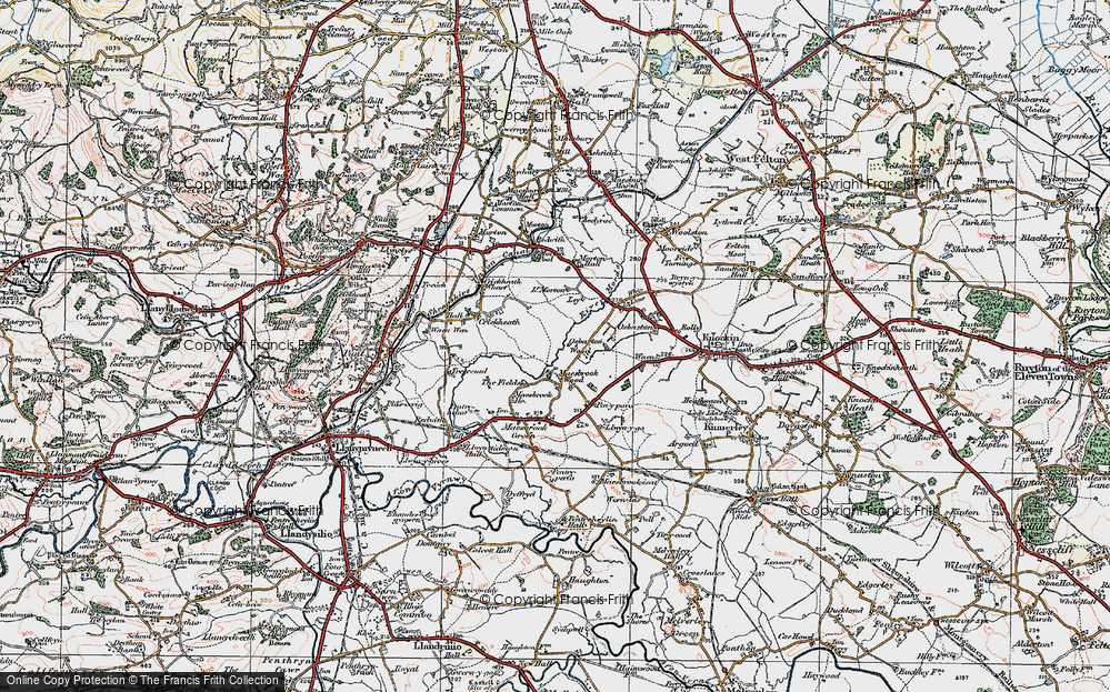Old Map of Historic Map covering Ley in 1921