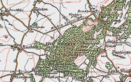 Old map of The Wrekin in 1921