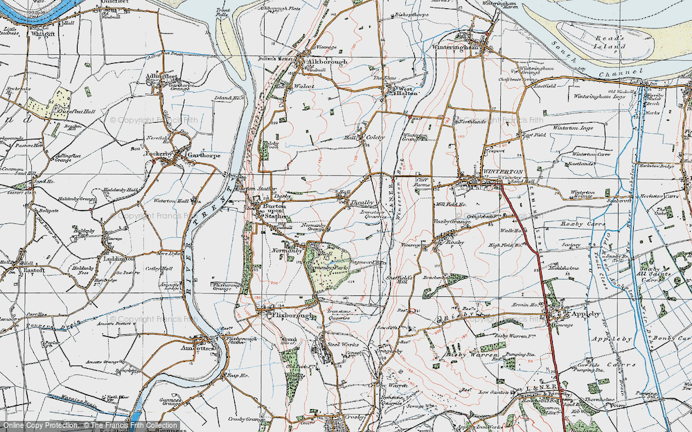 Old Map of Historic Map covering Barkers Holt in 1924
