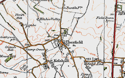 Old map of Therfield in 1920