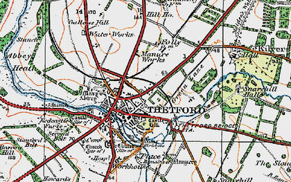 Old map of Thetford in 1920