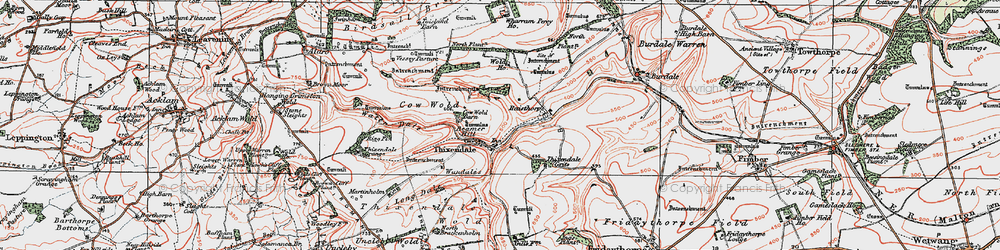 Old map of Wolds Way in 1924