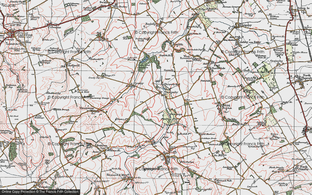 Old Map of Historic Map covering Ash Hill (Long Barrow) in 1923