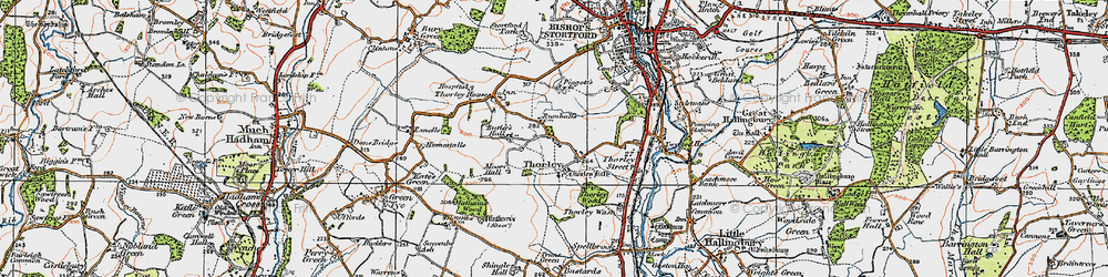 Old map of Thorley in 1919